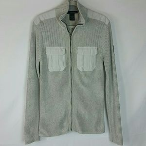 Grey ribbed knit zip sweater Calvin Klein Jeans M